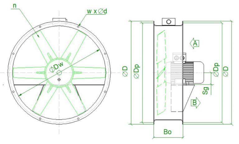 wymiary wentylatorow do przechowalni WORP Fantech