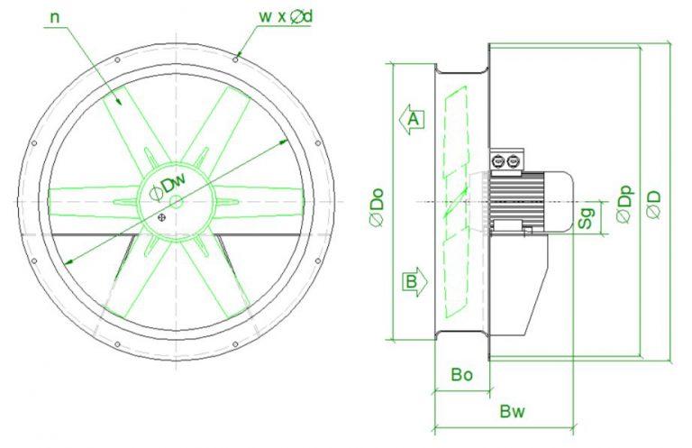 wymiary wentylatorow suszarniczych Fantech